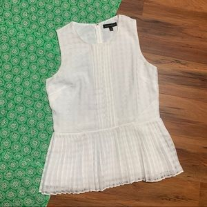 Banana Republic White Pleated Tank